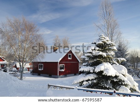 Beautiful Swedish village details in winter - stock photo