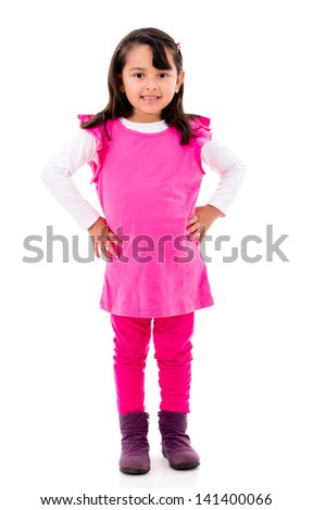 Beautiful sweet girl - isolated over a white background - stock photo