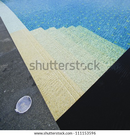 Beautiful swimming pool and deck composition. - stock photo