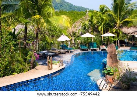 Beautiful swimming pool at an Thailand resort - stock photo