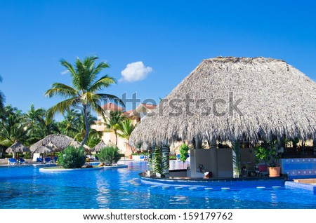 Beautiful swimming pool in caribbean - stock photo