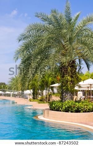 Beautiful swimming pool . Thailand . - stock photo