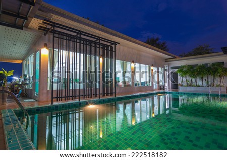 Beautiful Swimming pool with sale office - stock photo