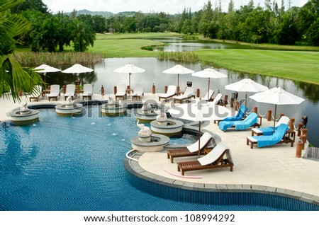 Beautiful swimming pool with the garden view - stock photo