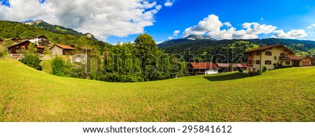 Beautiful Swiss mountain valley panoramic landscape. - stock photo