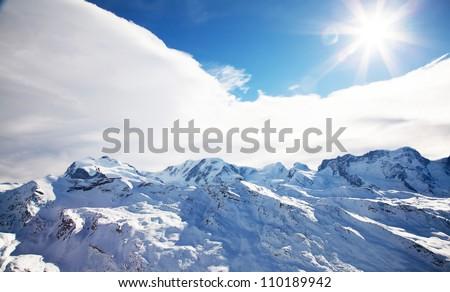 Beautiful Swiss winter landscape - stock photo