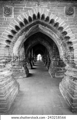 Beautiful symmetrical arches present in Rashmancha temple in Bishnupur, West Bengal, India - stock photo