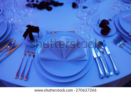 Beautiful table set for wedding - stock photo