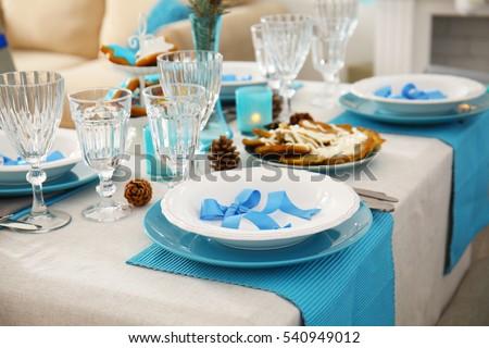 Beautiful table setting for Hanukkah closeup & Beautiful Table Setting Hanukkah Closeup Stock Photo 540949012 ...
