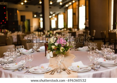 Beautiful table setting with crockery and flowers for a party wedding reception or other festive & Beautiful Table Setting Crockery Flowers Party Stock Photo (100 ...