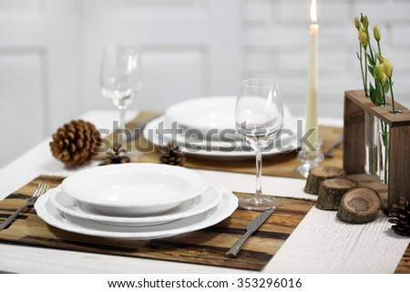 Beautiful table setting with natural eco materials - stock photo