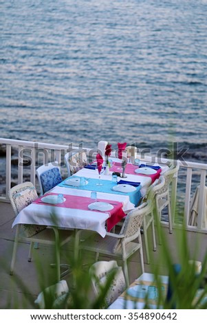 Beautiful table the restaurant is on the beach