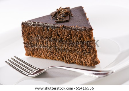 Beautiful tasty chocolate sacher cake close up shoot - stock photo