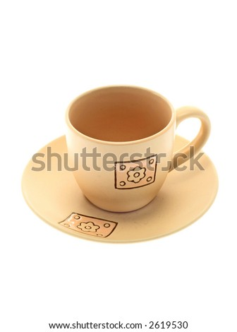 Beautiful tea cup on a white background - stock photo
