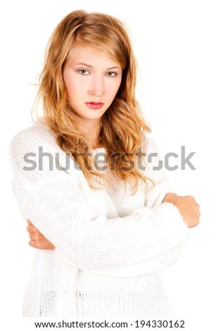 beautiful teen girl looking at the camera, white background - stock photo