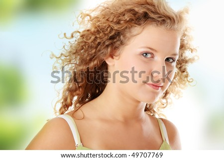 Beautiful teen pudgy caucasian girl - stock photo