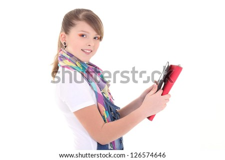 beautiful teenage girl with tablet pc over white background - stock photo