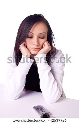 Beautiful Teenager Waiting for a Phone Call - Isolated - stock photo