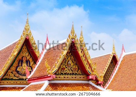 Beautiful temple roof in Bangkok, Thailand