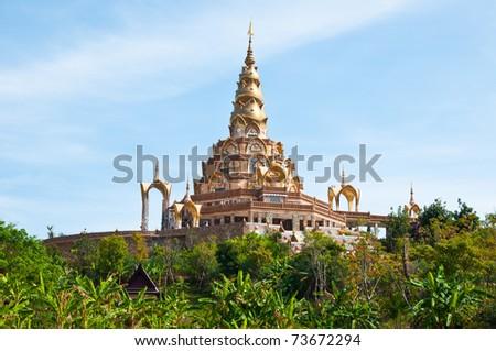 Beautiful Thai Pagoda with blue sky - stock photo