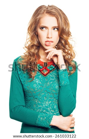 Beautiful Thinking Woman isolated on White background. Difficult Choice - stock photo