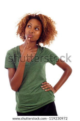Beautiful thoughtful black woman looking up isolated over white background