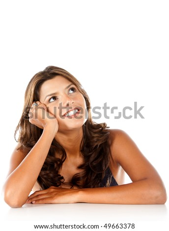 Beautiful thoughtful woman isolated over a white background - stock photo