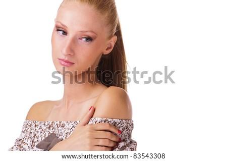 beautiful thoughtful woman looking down - stock photo