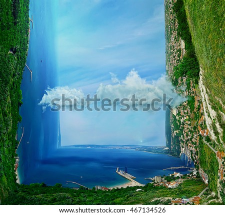 Beautiful three dimensional landscape of the coast of the sea. Holiday journey, travel concept