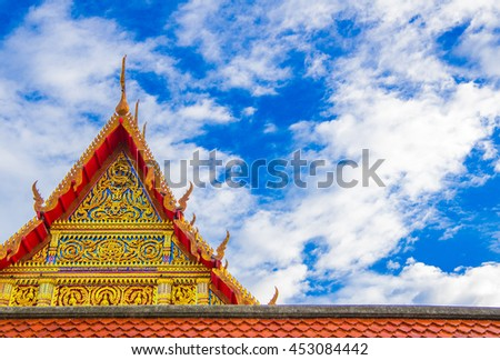 Beautiful tile roof of the temple, Thailand