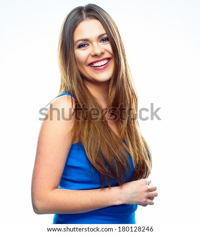 Beautiful toothy smiling woman on white background isolated.