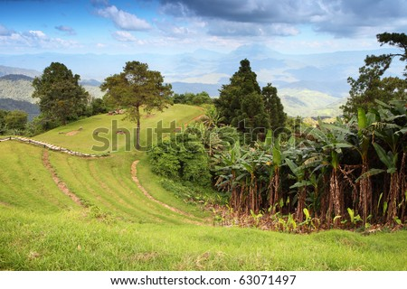 beautiful Top mountain and blue sky - stock photo