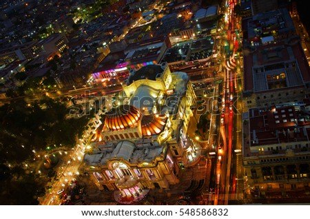 Beautiful top view of Bellas artes at night, Mexico City, Mexico