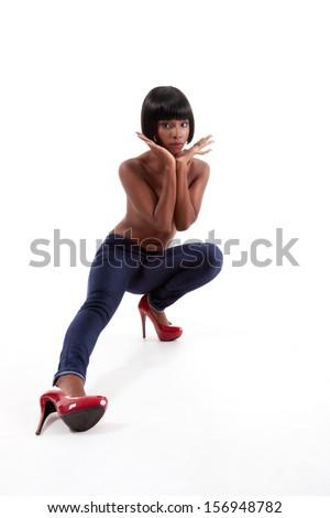 Beautiful topless ethnic black African American woman fashion model - stock photo