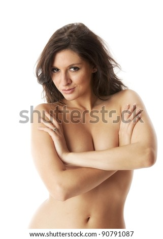Beautiful topless woman smiling and covering her breasts on white background - stock photo