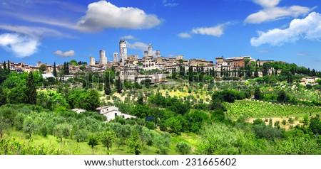 beautiful Toscana- view of San Gimignano - stock photo