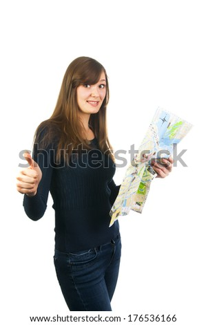 Beautiful tourist woman on vacation with a city map showing thumb up isolated on white background