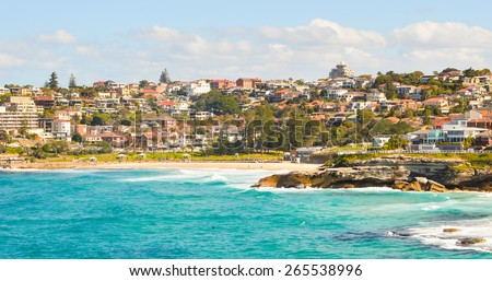 Beautiful town at sea side near Bondi beach , Sydney - stock photo
