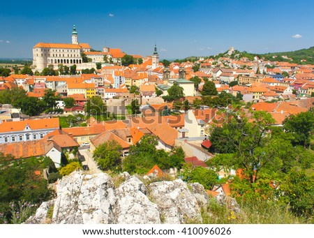 Beautiful town of Mikulov with a castle South Moravia, Czech Republic  - stock photo