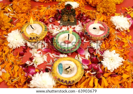 beautiful traditional decoration for prayer on the occasion of Diwali festival  in India. - stock photo