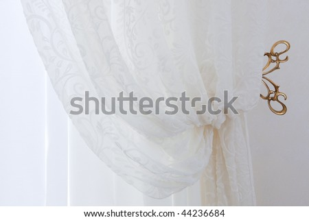 Beautiful transparent white curtains in an apartment - stock photo