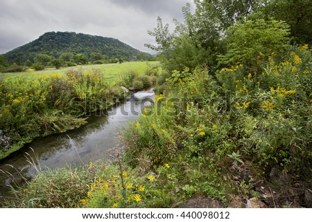 Beautiful tree and wildflower-lined swift, narrow, crystal clear brook and cascading waterfall in Wisconsin, running through a lush field of grass, on a cloudy day, with a hill in the background.