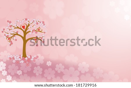 Beautiful tree with hearts and flowers on a glade