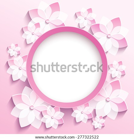 Beautiful trendy round frame with 3d white-pink flowers sakura - japanese cherry tree. Greeting or invitation card with blossoming sakura. Floral modern stylish background. Raster illustration - stock photo