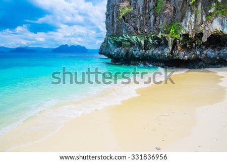 Beautiful tropical beach and mountain islands, El Nido, Palawan, Philippines - stock photo
