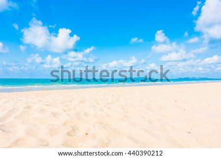 Beautiful tropical beach and sea with white cloud and blue sky background - Boost up color Processing - Holiday Vacation concept for background