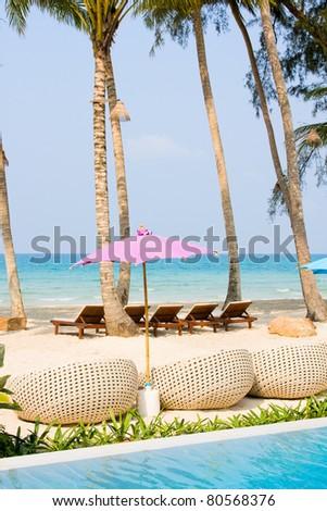 Beautiful tropical beach at island - stock photo