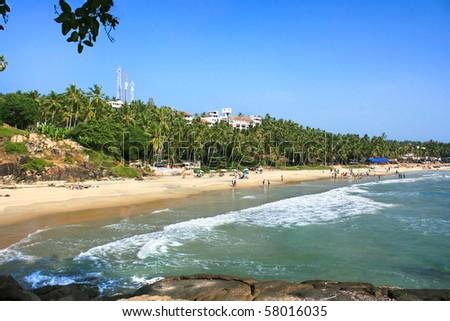 Beautiful Tropical beach in Kovalam, Kerala, India - stock photo