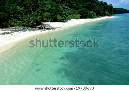 beautiful tropical beach in langkawi Islands, malaysia - stock photo