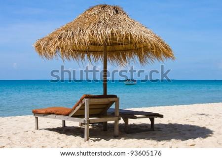 Beautiful tropical beach in Sihanoukville, Cambodia - stock photo